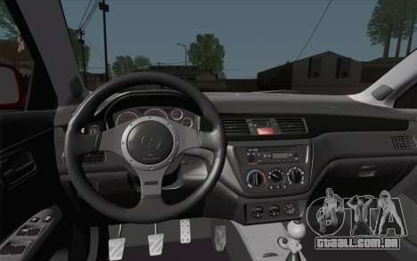 Mitsubishi Lancer MR Edition para GTA San Andreas vista traseira