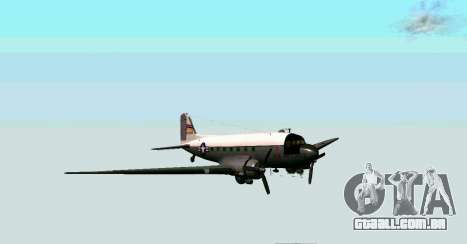 C-47 Dakota USAF para GTA San Andreas esquerda vista