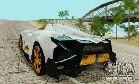 Lamborghini Egoista para GTA San Andreas traseira esquerda vista