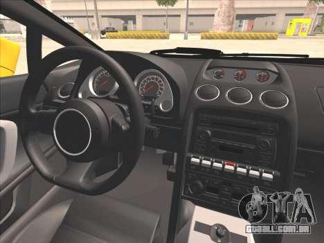 Lamborghini Gallardo para GTA San Andreas vista interior