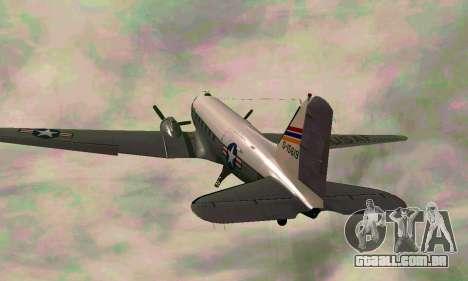 C-47 Dakota USAF para GTA San Andreas vista traseira