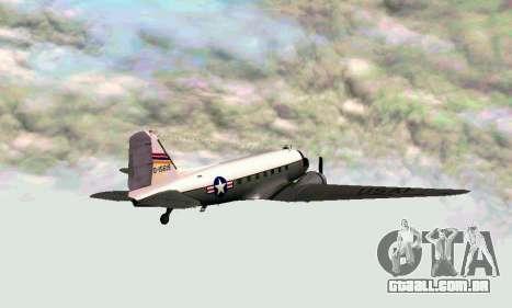 C-47 Dakota USAF para GTA San Andreas traseira esquerda vista