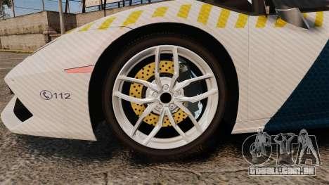 Lamborghini Huracan Hungarian Police [ELS] para GTA 4 vista de volta