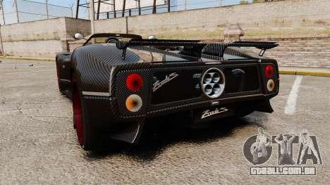 Pagani Zonda C12 S Roadster 2001 PJ3 para GTA 4 traseira esquerda vista