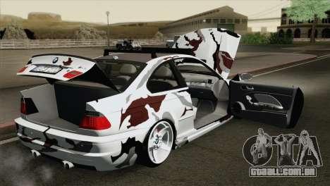BMW M3 E46 Camo para GTA San Andreas vista interior