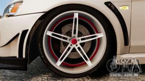 Mitsubishi Lancer Evolution X FQ400 (Cor Rims) para GTA 4 vista de volta