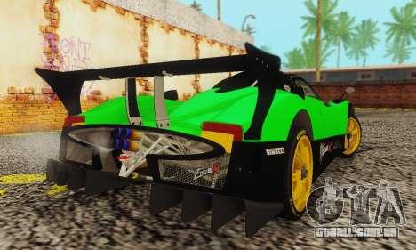 Pagani Zonda Type R Green para GTA San Andreas traseira esquerda vista