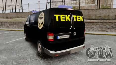 Volkswagen Transporter T5 Hungarian TEK [ELS] para GTA 4 traseira esquerda vista