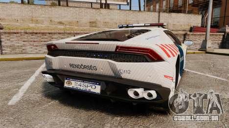 Lamborghini Huracan Hungarian Police [ELS] para GTA 4 traseira esquerda vista