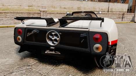 Pagani Zonda C12 S Roadster 2001 PJ4 para GTA 4 traseira esquerda vista