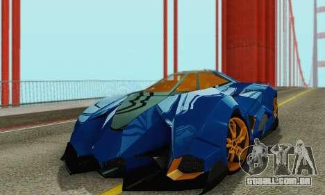 Lamborghini Egoista para GTA San Andreas vista interior
