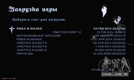 Black Metal Menu para GTA San Andreas por diante tela