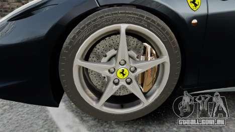 Ferrari 458 Italia para GTA 4 vista de volta