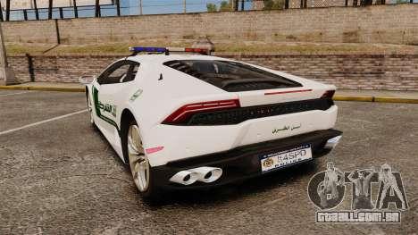 Lamborghini Huracan Cop [ELS] para GTA 4 traseira esquerda vista