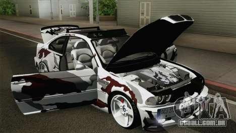 BMW M3 E46 Camo para GTA San Andreas vista traseira