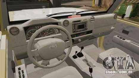 Toyota Land Cruiser 70 2014 para GTA 4 vista de volta