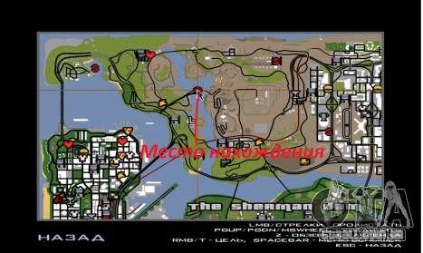 Nova represa Sherman para GTA San Andreas por diante tela