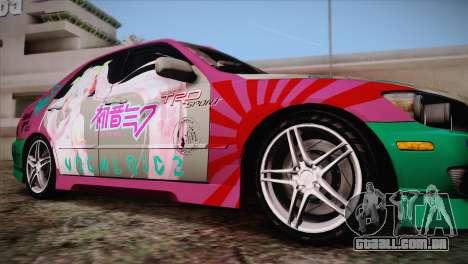 Toyota Altezza Sakura Miku Itasha para GTA San Andreas traseira esquerda vista