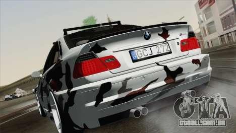 BMW M3 E46 Camo para GTA San Andreas esquerda vista