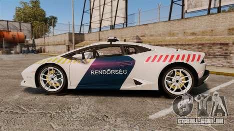 Lamborghini Huracan Hungarian Police [ELS] para GTA 4 esquerda vista