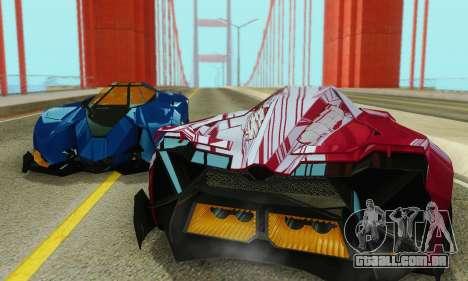 Lamborghini Egoista para GTA San Andreas vista superior