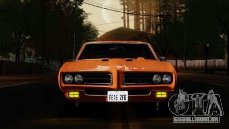 Pontiac GTO The Judge Hardtop Coupe 1969 para GTA San Andreas vista traseira