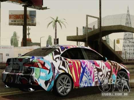 Lexus IS350 FSPORT Stikers Editions 2014 para GTA San Andreas esquerda vista