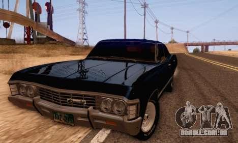 Chevrolet Impala 1967 Supernatural para GTA San Andreas traseira esquerda vista