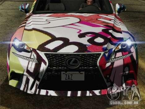 Lexus IS350 FSPORT Stikers Editions 2014 para GTA San Andreas vista direita