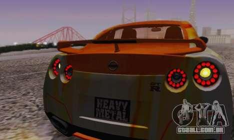 Nissan GTR Heavy Fire para GTA San Andreas vista inferior
