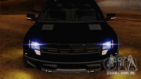 Ford F-150 SVT Raptor 2011 para GTA San Andreas vista traseira