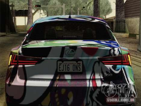 Lexus IS350 FSPORT Stikers Editions 2014 para GTA San Andreas vista traseira