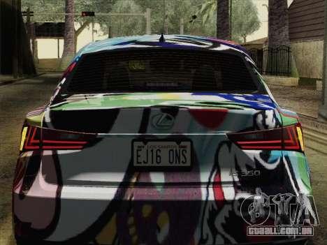 Lexus IS350 FSPORT Stikers Editions 2014 para GTA San Andreas vista traseira
