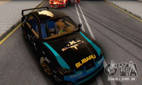 Subaru Impreza WRC STI Black Metal Rally para GTA San Andreas vista traseira