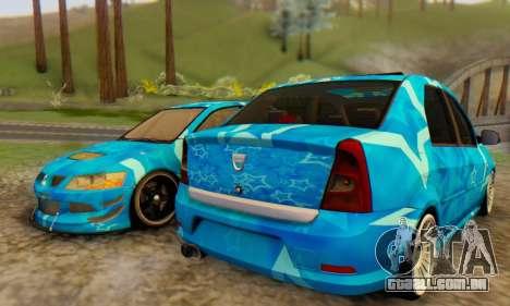 Dacia Logan Blue Star para GTA San Andreas traseira esquerda vista