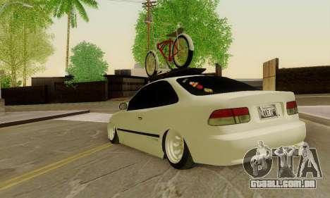 Honda Civic ek Coupe Hellaflush para GTA San Andreas traseira esquerda vista
