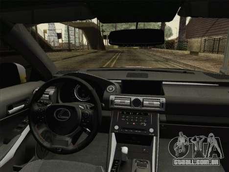 Lexus IS350 FSPORT Stikers Editions 2014 para GTA San Andreas vista interior