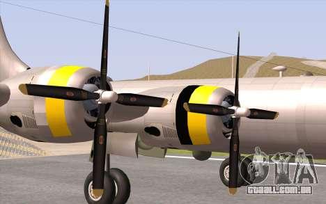 B-29A Superfortress para GTA San Andreas vista traseira
