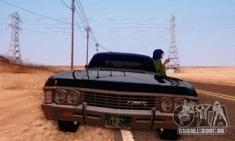 Chevrolet Impala 1967 Supernatural para GTA San Andreas vista traseira