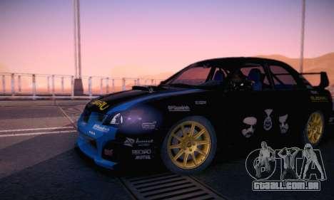 Subaru Impreza WRC STI Black Metal Rally para GTA San Andreas vista inferior