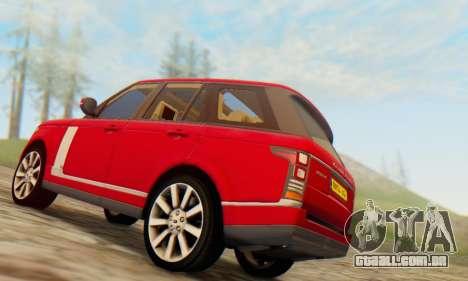 Range Rover Vogue 2014 V1.0 UK Plate para GTA San Andreas vista traseira
