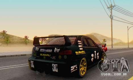 Subaru Impreza WRC STI Black Metal Rally para GTA San Andreas vista interior