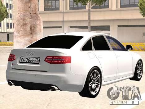 Audi RS6 para GTA San Andreas vista traseira