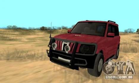 Mahindra Scorpio para GTA San Andreas vista interior