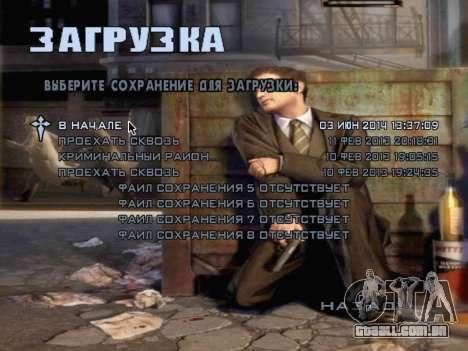 Tela de inicialização do Mafia II para GTA San Andreas oitavo tela