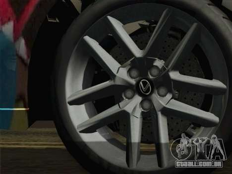 Lexus IS350 FSPORT Stikers Editions 2014 para GTA San Andreas traseira esquerda vista