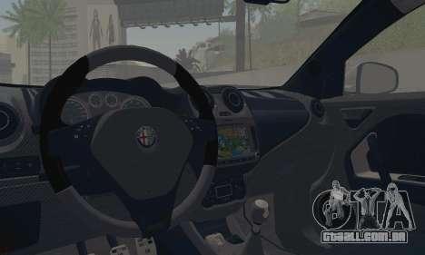 Afla Romeo Mito Quadrifoglio Verde para GTA San Andreas vista interior
