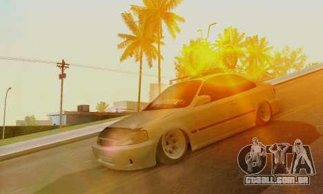 Honda Civic ek Coupe Hellaflush para GTA San Andreas esquerda vista