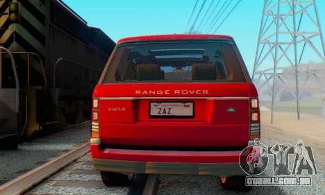 Range Rover Vogue 2014 V1.0 Interior Nero para GTA San Andreas traseira esquerda vista