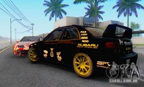 Subaru Impreza WRC STI Black Metal Rally para GTA San Andreas traseira esquerda vista